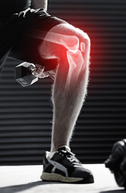 Man bending while working out with a xray of his bones