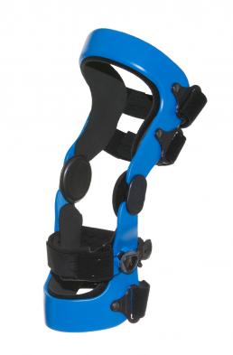3D molded blue knee orthosis