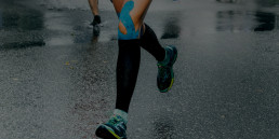 Woman running with compression socks
