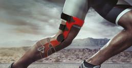 Genou en action portant une orthèse
