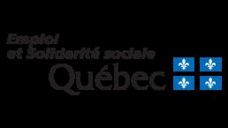 Quebec's flag with logo that says Emploi et Solidarité sociale